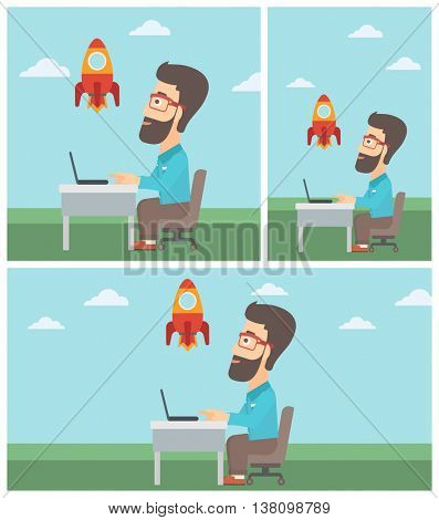 Businessman sitting at the table and looking at a flying rocket. Businessman working on a laptop. Business start up concept. Vector flat design illustration. Square, horizontal, vertical layouts.
