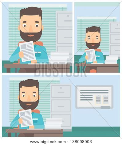 Hipster human resources manager reading application portfolios in the office. Concept of recruitment of staff, job interview. Vector flat design illustration. Square, horizontal, vertical layouts.
