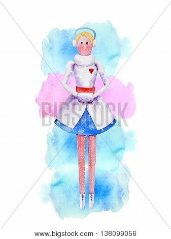 Snow maiden watercolor doll in white winter coat with red heart, blue skirt with  snowflake pattern, red band, muff for hands, earflap, red polka dot leggins