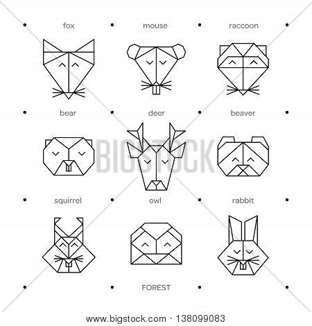 Origami vector animals set. Animal triangle heads. Vector origami animals. Geometric line design icon set. Vector origami animals for tattoo or coloring book. Vector origami forest animals collection.