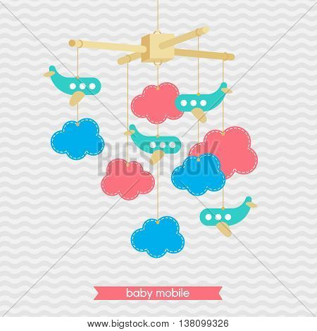 Baby shower invitation template. Illustration of baby mobile: clouds and airplanes. Isolated baby mobile for scrap booking cards baby shower. Vector baby mobile.