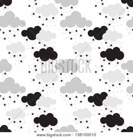 Scandinavian seamless pattern. Newborn seamless pattern with clouds and stars. Kids background. Vector seamless baby pattern. Perfect for kids bed linen baby cotton kids wallpaper.