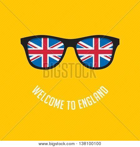 Stock Vector British flag in glasses stylish glasses. Modern vector illustration British flag reflected in stylish glasses.