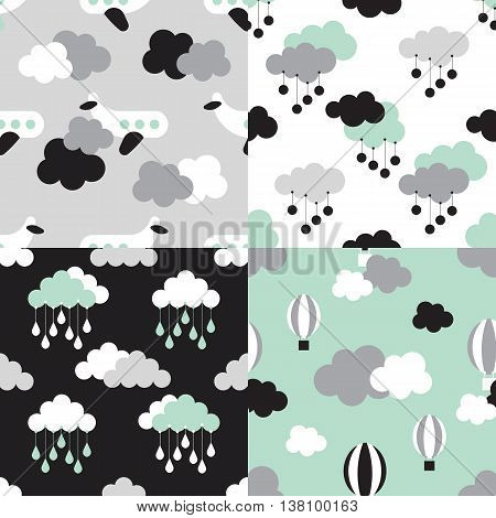 Scandinavian seamless pattern set. Newborn seamless patterns with clouds and stars. Kids background. Vector seamless baby pattern. Perfect for kids bed linen baby cotton kids wallpaper.