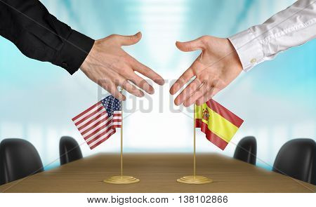 United States and Spain diplomats shaking hands to agree deal, part 3D rendering