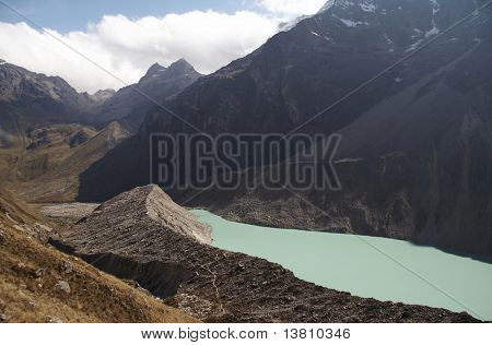 Beautiful lake ander Alpamayo mountain