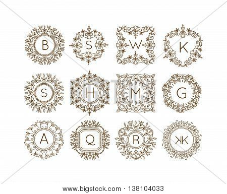 Vector sign monogram logo and badge emblem line art vector illustration. Emblem monogram luxury badge logo template flourishes calligraphic elegant ornament line vector
