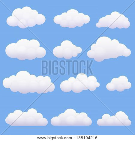 Soft cartoon clouds set on the blue background
