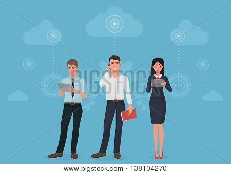 People with gadgets using social business connection communications in clouds concept