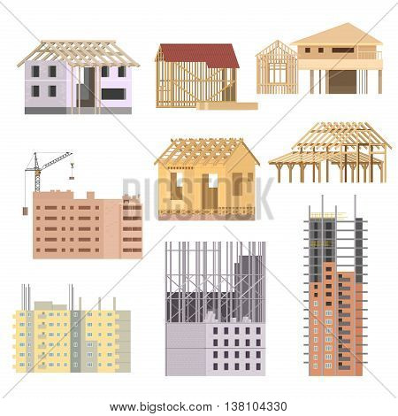 Vector flat Building under construction. Building house construction process icons set. Building with crane