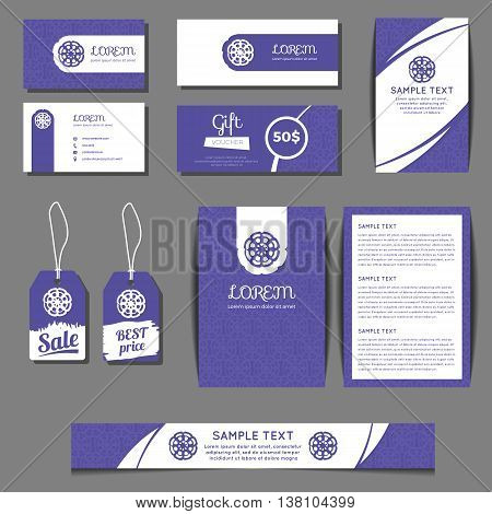 Corporate identity vector templates set with freehand grunge floral logo. Business cards, sale tags, banners, gift coupons