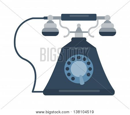 Old vintage keypad mobile phone and icon of old classic mobile phone antique vector. Old style mobile phone technology retro cellphone vector illustration isolated poster