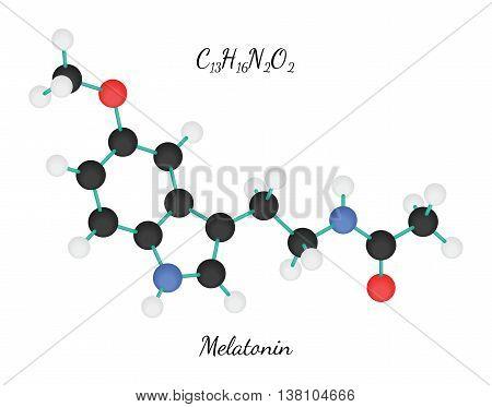 C13H16N2O2 Melatonin 3d molecule isolated on white