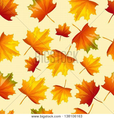 Seamless pattern with autumn leaves. Vector illustration. Cartoon style. Chaotically located yellow and red leaves on light background.