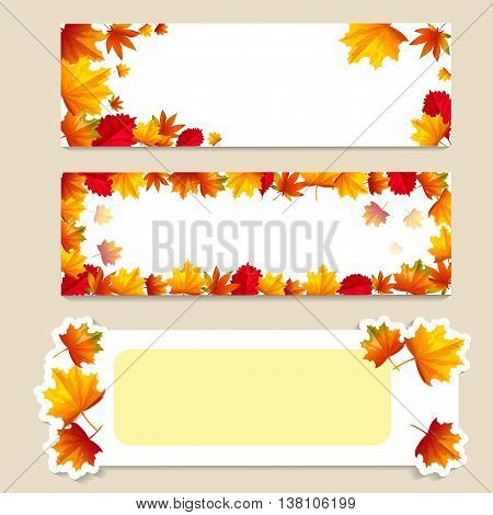 Set of isolated banners with autumn leaves. Vector illustration. Cartoon style. For business presentation.