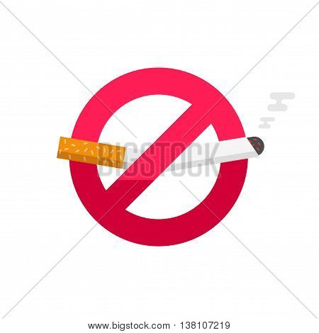 No smoking sign, dont smoke vector icon badge isolated on white background, broken cigarette label