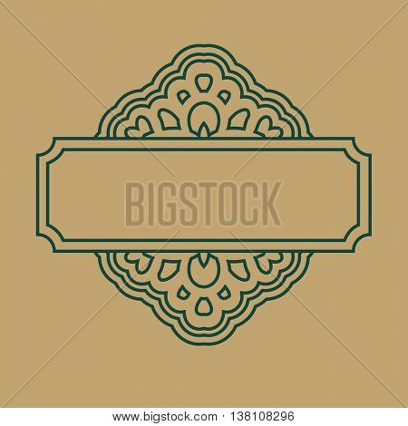 Vector abstract monogram and logo design template. Decorative line art frames. Elegant element for design in Eastern style with space for text.Lace illustration for greeting and invitations cards