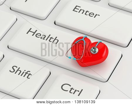 3D Rendering Of Keyboard With Heart And Stethoscope