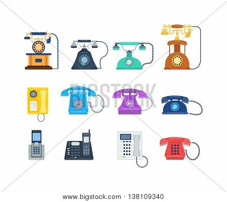 Telephones call contact, business telephones. Classic telephones technology support symbol, retro telephones mobile equipment. Telephones communication call contact device vector