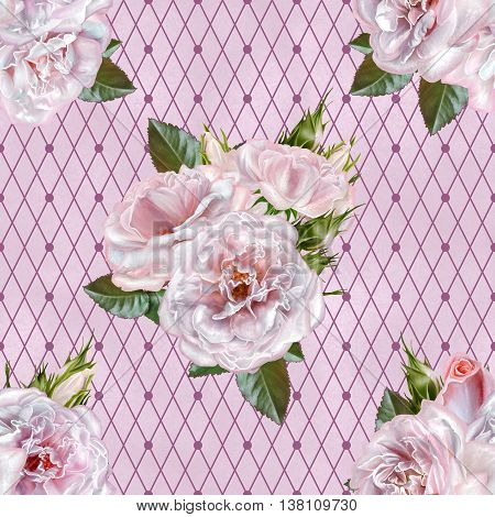 Pattern seamless. Old style. Bouquet of flowers and pastel pink roses. Floral background. Fine weaving lace mosaic.