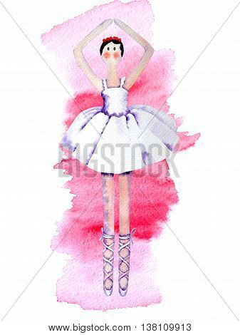 Ballerina rag watercolor doll in pointe and ballet skirt
