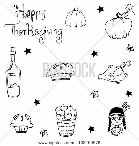 Element Thanksgiving food in doodle vector art
