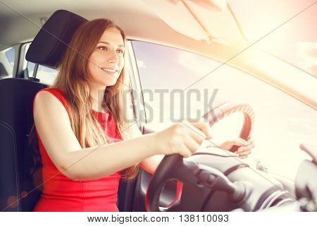 Young Beautiful Woman Steering Wheel Driving A Car