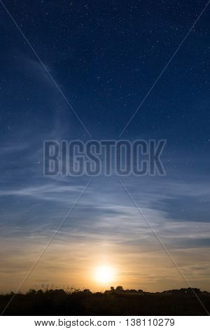 Rising Moon In Dark Blue Sky With Stars