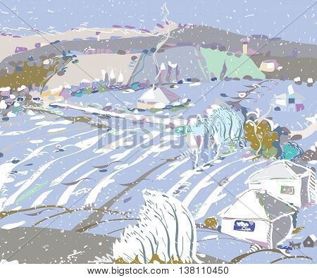 Illustration of a first snow covering a rural landscape with trees houses and fields