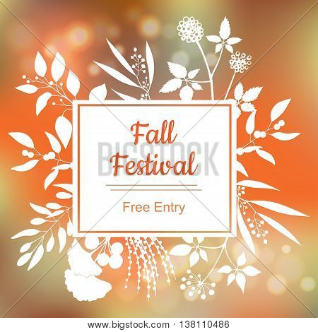 Fall festival. Vector colorful illustration on blurred background.