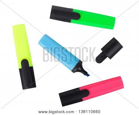 Multicolored highlighters. Isolated on white background