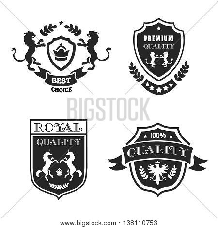Heraldic elements black emblems set premium quality. Medieval shields with stars and laurel wreaths illustration