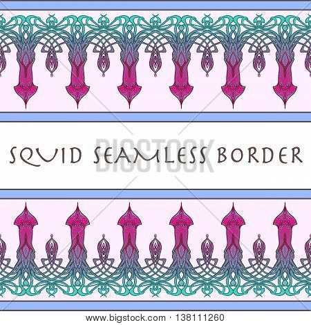 Sea squid decorative seamless border. Exquisite and elaborate art nouveau style design. EPS10 vector illustratopn.