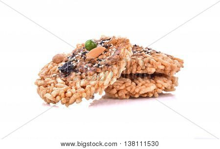 Khaotan rice cracker on white background .