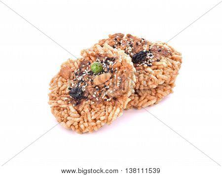 Khaotan rice cracker on white background .