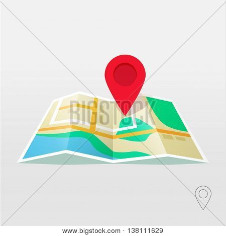 Road map marker pointer with road map vector icon design. Pin pointer roadmap. Location pin illustration on gray background brilliance. GPS navigation systems.