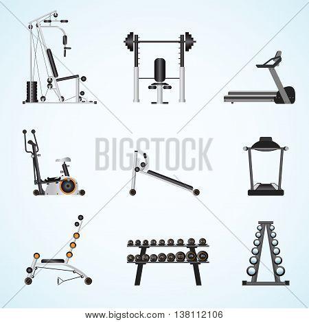 Fitness gym equipment isolated on background gymnasium sport fitness athletics healthy lifestyleflat design Vector illustration.