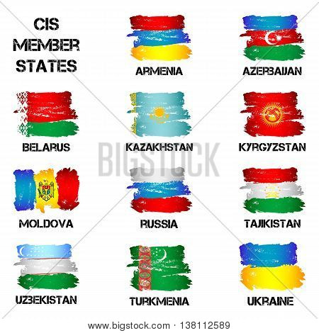 Set of flags of CIS countries from brush strokes isolated on white background. Ensigns of 11 CIS member states. Vector illustration