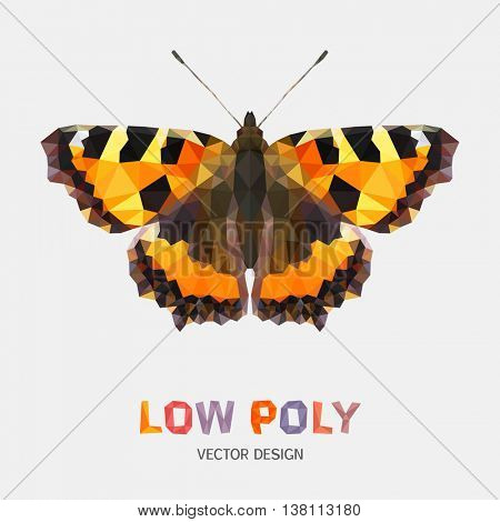 Low poly design of butterfly. Vector mosaic pattern