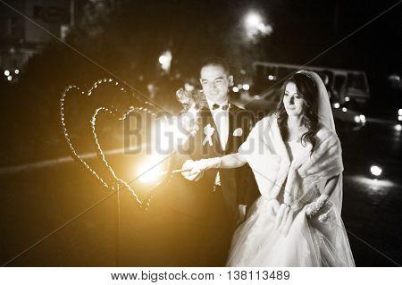 Wedding Couple Light Fire Heart  Of Love