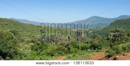 View of the Great Rift Valley from a viewpoint in Kenya poster