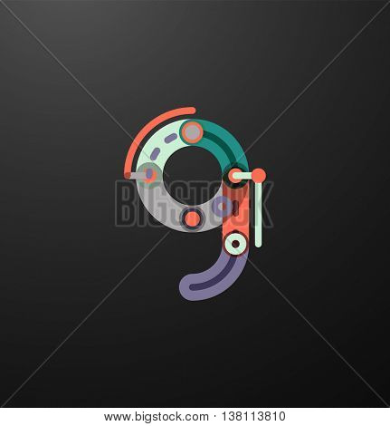 Company branding logo of initial letters on black. Flat cartoon industrial wire or tube design of ABC typeface