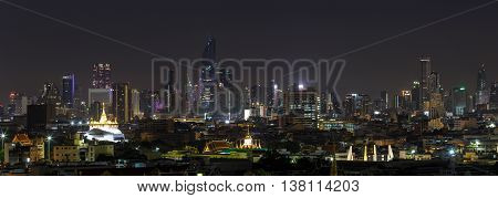 BANGKOK, THAILAND - 11 JUNE 2016 - Scene of high-rise buildings of Bangkok Thailand at dusk