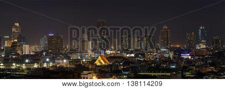 BANGKOK, THAILAND - 11 JUNE 2016 - Scene of high-rise buildings of Bangkok Thailand at dusk