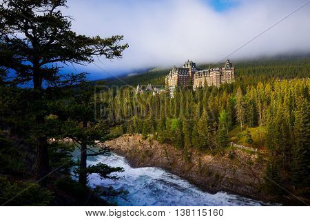View of Fairmont Banff Springs Hotel from surprise corner in Banff Alberta Canada