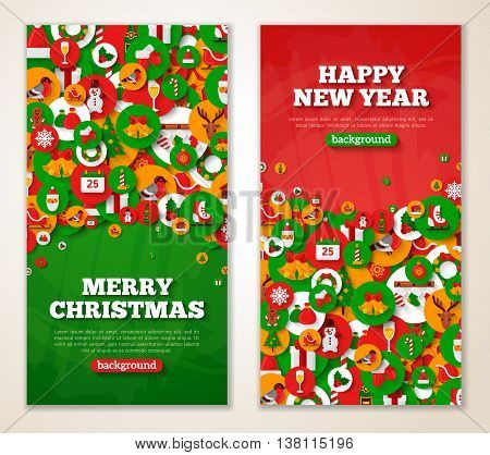 Christmas greeting cards with flat holiday icons in circles. Vector illustration. Vertical red and green New Year banners with textured background.
