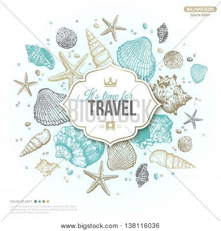 Vintage Summer Sea Shells Banner Design. Vector Background with Seashells, Seastar and Sand. Hand Drawn Etching Style. Place for Your Text. Travel Emblem Template with Crown.