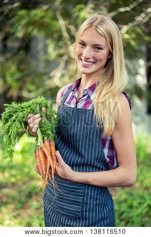 Portrait of happy beautiful gardener with fresh organic carrots at garden