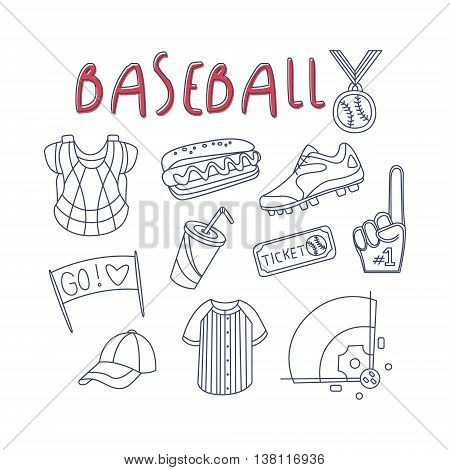 Baseball Related Object And Inventory Set With Text Hand Drawn Simple Vector Illustration Is Sketch Style