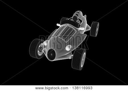 Racing Car Hologram Wireframe. Nice 3D Rendering